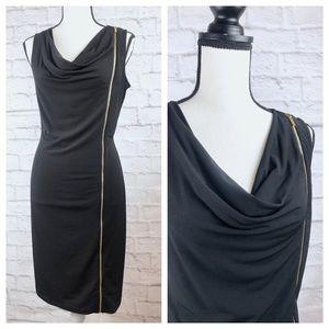 Calvin Klein Black Sheath Gold Side Zip Dress